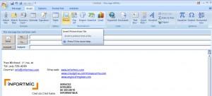 Insertion image dans courriel